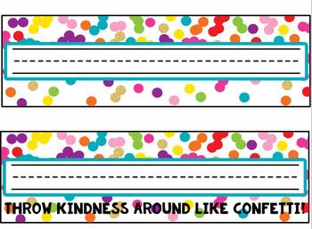 Rainbow & Gold Confetti Name Plates