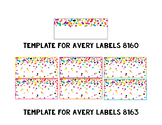 Rainbow & Gold Glitter Confetti Avery Label Templates {Editable}