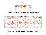 Rainbow & Gold Glitter Confetti Avery Label Templates {Editable}