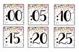 Rainbow & Gold Glitter Confetti Clock Labels