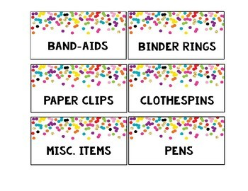 Rainbow & Gold Glitter Confetti Teacher  Large & Small Toolbox Labels {Editable}