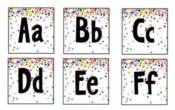 Rainbow & Gold Glitter Confetti Word Wall Headers & Cards {Editable}
