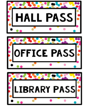 Rainbow & Gold Glitter Hall Passes