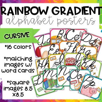 Rainbow Gradient Alphabet Posters Cursive