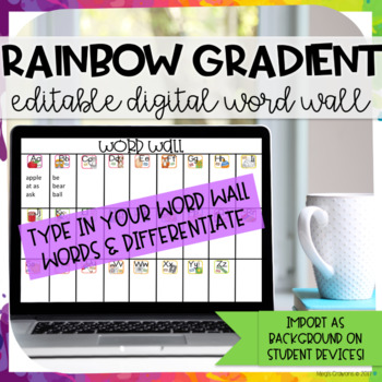 Rainbow Gradient Digital Word Wall-EDITABLE