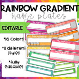 Rainbow Gradient Name Plates-EDITABLE