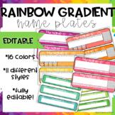 Rainbow Gradient Name Plates-EDITABLE