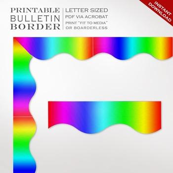 Rainbow Gradient Printable Bulletin Board Trim