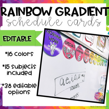 Rainbow Gradient Schedule Cards- Editable