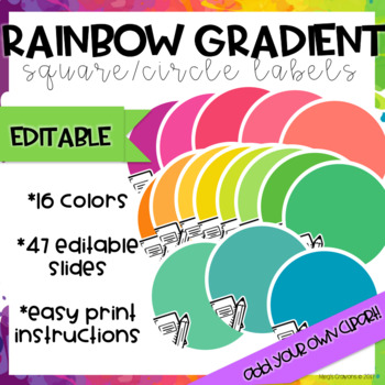 Rainbow Gradient Square/Circle Labels-EDITABLE