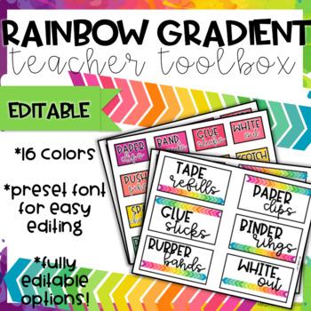 Rainbow Gradient Teacher Toolbox-EDITABLE