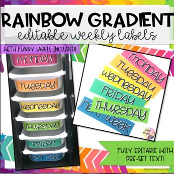 Rainbow Gradient Weekly Labels