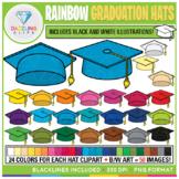 Rainbow Graduation Hats Clip Art {End of Year}