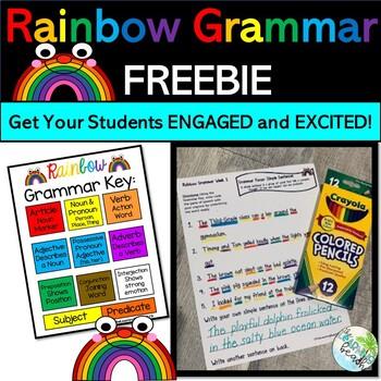 Rainbow Grammar for Third Grade {FREEBIE} Week 1 Journeys: Simple Sentences