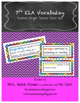 Rainbow Growing ELA Word Wall Words FREEBIE