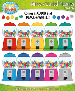Rainbow Gumball Machine Clipart {Zip-A-Dee-Doo-Dah Designs}