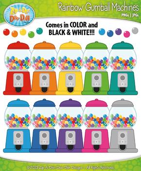 Rainbow Gumball Machine Clipart {Zip-A-Dee-Doo-Dah Designs}