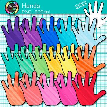 Rainbow Hand Clip Art {Community Helper Handprints for Brag Tags & Task Cards}