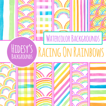 Rainbow Handpainted Watercolor Digital Paper / Background / Pattern Clip Art