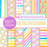 Rainbow Handpainted Watercolor Digital Paper / Background