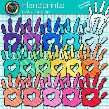Rainbow Handprint Clip Art | Community Helper Hands for Class Decor & Task Cards