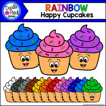 Rainbow Happy Cupcakes Clip Art Set - Doodle Patch Designs