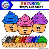 Rainbow Happy Cupcakes Clip Art Set - Doodle Patch Designs