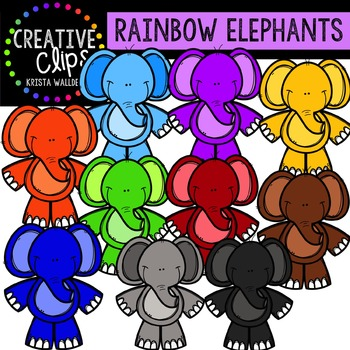 Rainbow Happy Elephants {Creative Clips Digital Clipart}