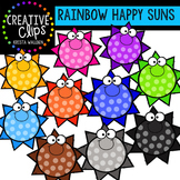 Rainbow Happy Suns {Creative Clips Digital Clipart}