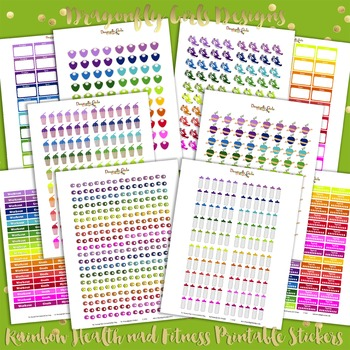 Rainbow Health and Fitness Printable Planner Stickers Kit-10 page 892 stickers