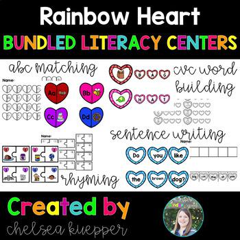 Rainbow Heart Bundled Literacy Centers