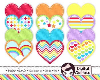 Rainbow Heart Clip Art, Stitched Heart Clipart