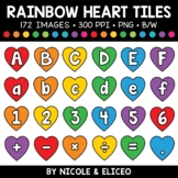 Rainbow Heart Letter and Number Tiles Clipart