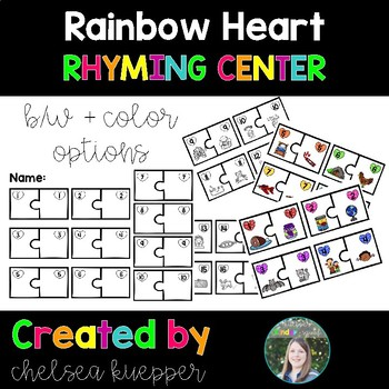 Rainbow Heart Rhyming Literacy Center