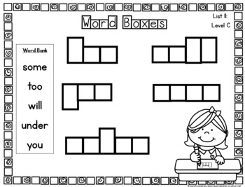 Rainbow Heart Word Activities for Word Work: List 11 Guided Reading Level C