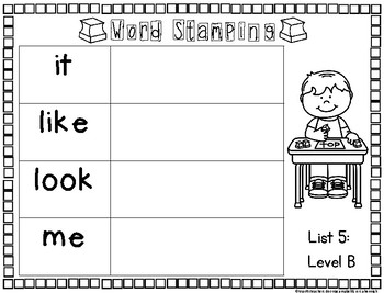 Rainbow Heart Word Activities for Word Work: List 5 Guided Reading Level B