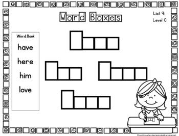 Sight Word Work by Guided Reading Level-Rainbow Heart Words: List 9 Level C