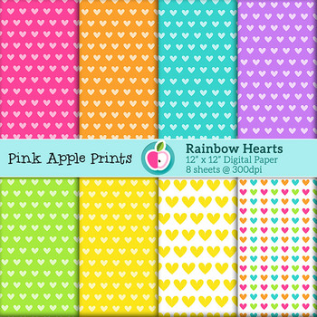 Rainbow Hearts Style Digital Papers Set: Graphics for Teachers