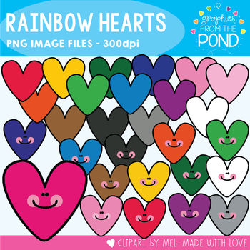 Rainbow Hearts - Clipart and Papers - Great for Valentines Day