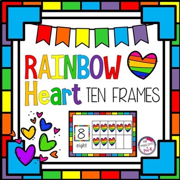 Rainbow Hearts Counting Ten Frames 1 - 20 - Half Page Complete/Blank Sets