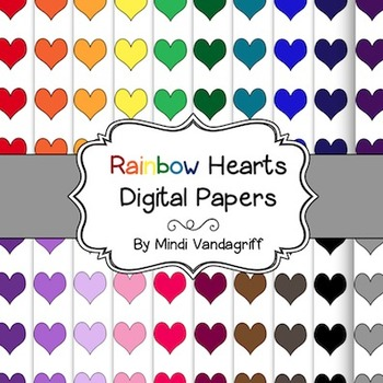 Rainbow Hearts Digital Papers