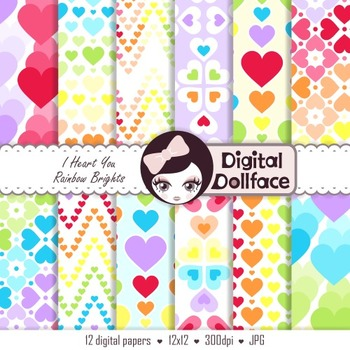 Rainbow Hearts Digital Papers, Clipart Backgrounds