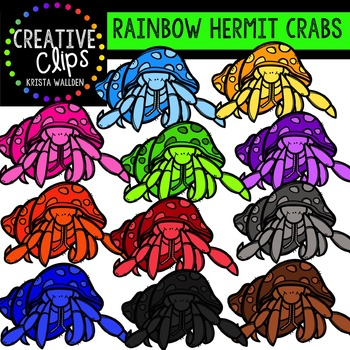 Rainbow Hermit Crabs {Creative Clips Digital Clipart}
