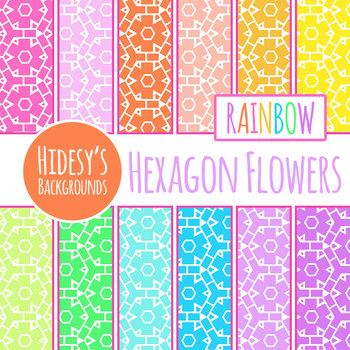 Rainbow Hexagon Flowers Digital Paper / Backgrounds / Patterns Clip Art Set