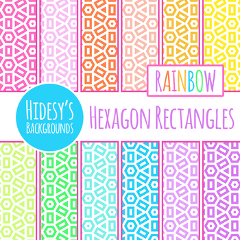 Rainbow Hexagon Patterned Rectangles Backgrounds / Digital Papers Clip Art