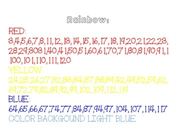Rainbow Hidden Picture on 120 chart