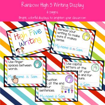 Rainbow High Five Writing Display