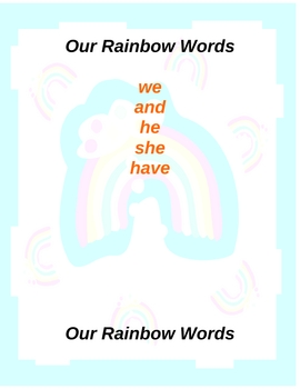 Rainbow High Frequency Word Lists