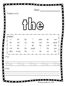 Rainbow, Highlight, & Write Sight Word FREEBIE (Journeys sight words)