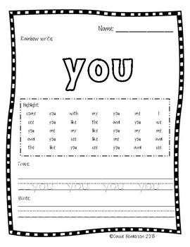 Rainbow, Highlight, & Write Sight Word Practice (Journeys sight words)